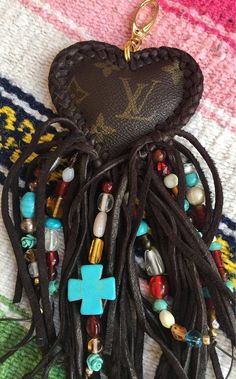 Authenic Louis Vuitton upcycled fringed heart dream catcher