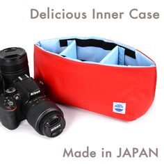 DSLR camera bag inner bag soft cushion box made in Japan MOUTH Delicious case MJC12024 RED/LBLUE