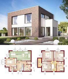 Moderne Stadtvilla im Bauhausstil mit Klinker Fassade & Flachdach Architektur - Einfamilienhaus Grundriss Haus Evolution 154 V9 Bien Zenker Fertighaus Ideen - HausbauDirekt.de