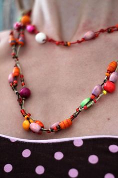 Bright Beaded Jewelry Large beads Orange by AugustArtStudio, $26.00