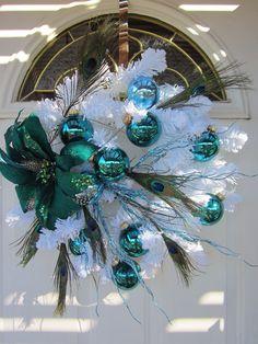 OOAK Aqua Marine Teal Peacock Fancy on White Christmas Wreath 23 x 22 x 8. Etsy.