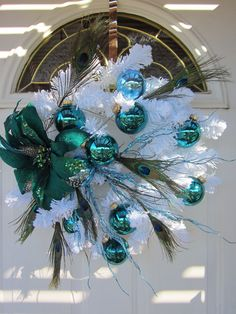 Aqua Marine Teal Peacock Fancy on White Christmas Wreath