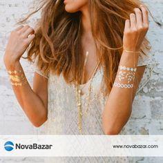Bu yazın trendi altın dövmeler ile tüm gözler üzerinizde olacak .. http://www.novabazar.com/Metal-Tattoo_br_6883