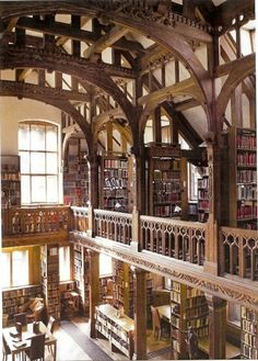 Cool Bookish Places: Gladstone's Library In British Prime Minister William Gladstone got out a wheelbarrow and began moving his personal collection of books from Hawarden Castle in Wales to their new home about a quarter of a mi Beautiful Library, Dream Library, Library In Home, Grand Library, Special Library, Library Cafe, Future Library, City Library, Home Libraries