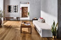 """Get the perfect Scandinavian look with our Birmingham light-colored Hickory Hardwood in Chanticleer. This engineered hardwood is perfect for Scandinavian living rooms and other high-traffic areas. The 7 1/2"""" planks have dynamic variations of tone and texture and start at $6.99 a SQ FT."""