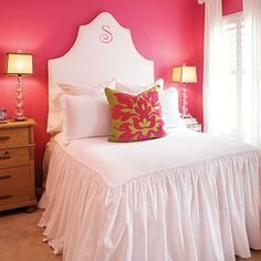"""Add a splash of honeysuckle for a """"grown-up"""" girls room.  The Pop of color ties in with the accents in the bedding.  This room speaks for itself and doesn't need added adornments on the wall."""