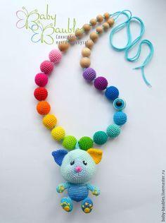 "Купить ""Котенок"" слингоигрушка - бирюзовый, синий, желтый, голубой, слингоигрушки, котенок, слингоигрушка котенок"
