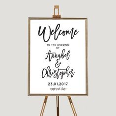 Simple, elegant black and white wedding welcome sign, other matching stationey items available in this style