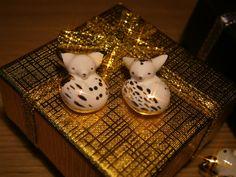 Ceramic tiny fox totem gold pendant