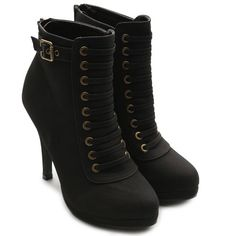 Ollio Women's Faux Suede Lace Up Platforms High Heel Fashion Ankle Boots
