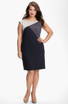 Adrianna Papell Colorblock Shift Dress (Plus) available at #Nordstrom  very classey for we senior gals.