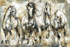 Reproductions giclées sur toile - giclée prints on canvas — Elise Genest Pretty Horses, Horse Love, Beautiful Horses, Painted Horses, Horse Drawings, Animal Drawings, Horse Pictures, Art Pictures, Oil Pastel Colours