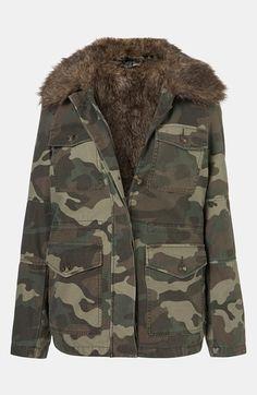564f50e25f84 Topshop Faux Fur Lined Camo Utility Jacket