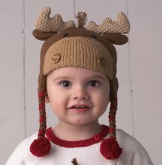 nice Moose Ear Flap Hat 100% Cotton, Hand-Knit. hand knit moose hat for babies and toddlers