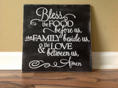 Bless the food before us the family beside us and the love between us wood sign hand painted rustic distressed kitchen dining room sign by GAGirlDesigns on Etsy https://www.etsy.com/listing/201299807/bless-the-food-before-us-the-family