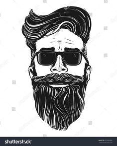 <img> Vector hipster man bearded face in sunglasses - Bald Men With Beards, Bald With Beard, Long Beards, Barber Logo, Barber Shop, Tattoo Caveira, Beard Logo, Long Beard Styles, Tatoo Art