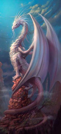 white dragon painting ##FantasyArt #dragons #FantasyCreature