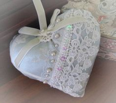 Heart Pillow 6 X 6 Door Hanger Aqua Damask with by CharlotteStyle, $23.00
