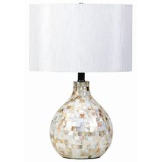 Create a coastal-inspired retreat at home with this eye-catching table lamp, showcasing a capiz shell inlay and drum shade. White Accent Table, White Table Lamp, Bedroom Furniture Stores, Table Lamps For Bedroom, Family Furniture, Rustic Furniture, Tropical Table Lamps, Transitional Table Lamps, Coaster Fine Furniture