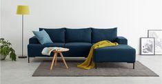 MADE Essentials Oskar Right Hand Facing Compact Corner Chaise End Sofa, Shetland Blue   MADE.com