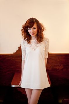 Lace Mod Mini Dress  Ivory or Black in Small/Medium by yellowcake, $112.00