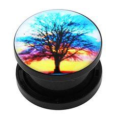 00-Gauge - 10 MM bunt Baum des Lebens Logo Bild schwarz UV Acryl Schraube passen Flesh Tunnel - http://schmuckhaus.online/chennai-jewellery/bunter-baum-des-lebens-logo-bild-schwarz-uv-acryl-2