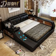 Pedicle massage tatami bed intelligent leather bed double bed 1.8 m leather bed storage soft beds