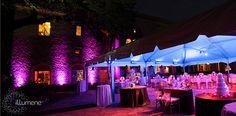 Beautiful Tent and Uplighting on the Deering Courtyard by Illumene Uplighting Wedding, Tent Wedding, Wedding Rentals, Wedding Music, Wedding Blue, Miami Wedding, Wedding Receptions, Wedding Stuff, Event Lighting