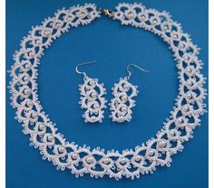Needle Tatted Bridal Necklace and Earrings,