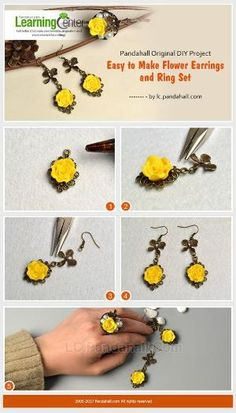 Pandahall Original DIY Project - Easy to Make Flower Earrings and Ring Set from LC.Pandahall.com | Jewelry Making Tutorials & Tips 2 | Pinterest by Jersica
