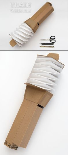 This working Train Whistle is made from corrugated card with a set of thin card bellows.