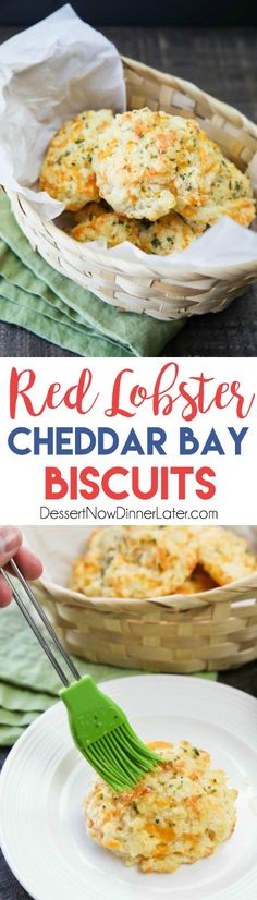 This copycat Red Lobster Cheddar Bay Biscuits recipe is super delicious! Crisp edges, a fluffy biscuit center, with plenty of cheese, garlic, and extra butter slathered on top. You won& be able to eat just one! Red Lobster Cheddar Bay Biscuits Recipe, Great Recipes, Favorite Recipes, Biscuit Recipe, Dinner Rolls, Copycat Recipes, Food To Make, Good Food, Cooking Recipes
