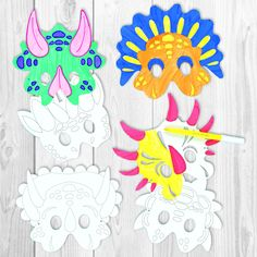 BUY NOW;Dinosaur fans will love these! Pre-cut and pre-printed cardboard masks for children to colour with our acrylic paint or fibre pens and then wear. 6 designs. Average size 20cm. Elastic supplied.