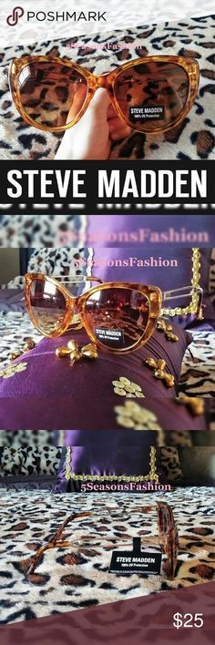 Last 1!  STEVE MADDEN Tortoise Sunglasses BRAND NEW WITH TAGS! Super fun and trendy CAT EYE shades from Steve Madden. Gorgeous light brown semi-translucent tortoise frame. Metal cut out style arms. 100% UV Protection  Steve Madden Accessories Sunglasses