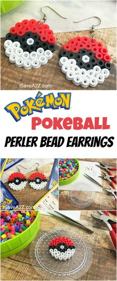 Pokemon Earrings Made Out of Perler Beads I am so excited about how our Pokemon Earrings Made Out of Perler Beads turned out! Ever since I can remember my daughter has been into Pokemon. Pokemon Perler Beads, Diy Perler Beads, Perler Bead Art, Loom Beading, Beading Patterns, Pixel Art, Pokemon Earrings, Perler Earrings, Pokemon Craft