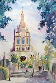 Basílica de Begoña, Bilbao, Spain watercolour by Prabal Mallick, India. Available bpbilbao@gmail.com