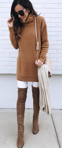 fashionable winter outfit_brown sweater dress bag over knee boots white skinnies scarf