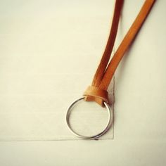 Leather Strap Necklace with Charm Hoop
