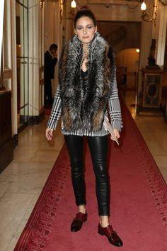 Olivia Palermo wearing Cara Mila Duchess Fox Stole, Santoni Double-Buckle Leather Loafers and J Brand L8007 Edita Leather Leggings