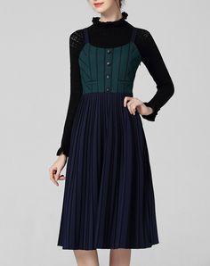 #AdoreWe #VIPme A-Line Dresses - wei guo yue Royal Blue Stripes Elegant Spaghetti Midi Dress - AdoreWe.com