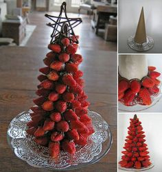 Make this beautiful Christmas tree for a table cent … - Christmas Desserts Christmas Appetizers, Christmas Desserts, Christmas Treats, Holiday Treats, Fruit Christmas Tree, Christmas Lunch Ideas, Christmas Sweet Table, Xmas Tree, Aussie Christmas