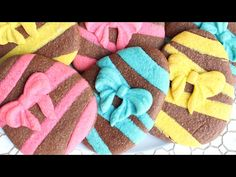 Chocolate Easter egg cookies with ribbon using colored cookie dough