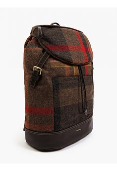 Paul Smith Men's Checked Wool and Leather Backpack | oki-ni