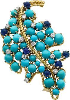 Estate Jewelry:Brooches - Pins, Tibor Diamond, Turquoise, Lapis Lazuli, Gold Brooch
