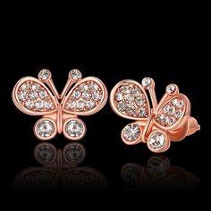 Boucles d'oreilles Femme Branché Animal Plaqué or Plaqué or rose Alliage Cristal