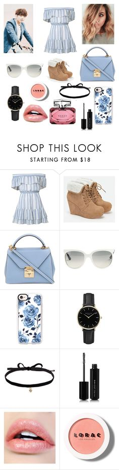 """""""First date (Jungkook)"""" by stepanovashawnette ❤ liked on Polyvore featuring LoveShackFancy, JustFab, Mark Cross, Ray-Ban, Casetify, ROSEFIELD, Joomi Lim, Marc Jacobs, LORAC and Gucci"""
