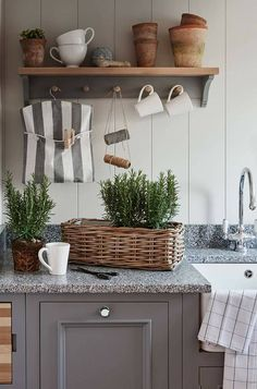 Drink coffee or tea, wash clothes, and play with plants here. Photo by Sims Hilditch Sims Hilditch, The White Hart Located in one of t. Neptune Home, Neptune Kitchen, Kitchen Furniture, Kitchen Interior, New Kitchen, Interior Exterior, Interior Design, Rectangular Baskets, Cottage Renovation