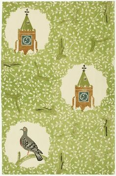 'Church and Dove' or 'Woodpigeon' wallpaper sample by Edward Bawden, 1927