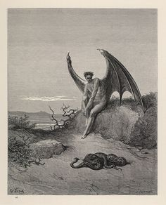 Lucifer, The Fallen Angel - Gustave Dore Artwork Print by Famouspaintings - SMALL Gustave Dore, Gravure Illustration, Illustration Art, Book Illustrations, Norman Rockwell, Dante Alighieri, Angels And Demons, French Artists, Religious Art
