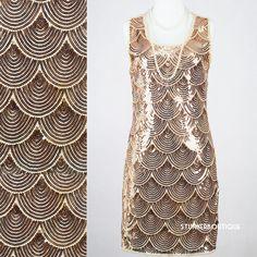 GREAT GATSBY 1920s GOLDEN FLAPPER CHARLESTON DECO PARTY SEQUIN DRESS CHIFFON M